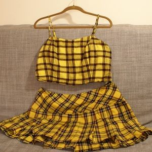 Tops - Set of yellow plaid top and yellow plaid skirt